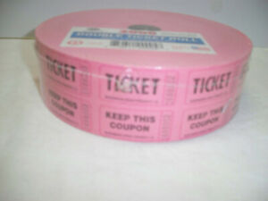 Pink Double Raffle Ticket Roll Of 2000