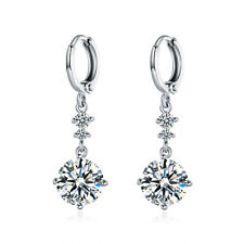 HUCHE Retro Dangle Round Diamond Clear Topaz Silver Gold Filled Lady Earrings