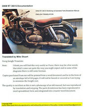 DKW RT 350 S (English Translation) Workshop Manual & Illustrated Parts List.
