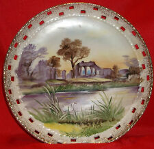 "Vintage Hand Painted 8"" Plate Porcelain Cut Work Edge Landscape Artist Signed"