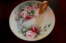 Hand Painted Pink and Mauve Roses Gilded Gold Handle Tray Bavaria
