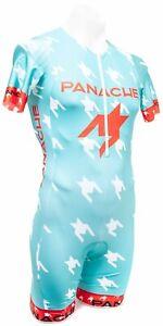 Panache Houndstooth Short Sleeve Triathlon Speedsuit Men SMALL Teal Aero Race