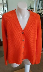 Coz orange 100% lambs wool cardigan.SzXS.Very soft slight swing back.as new
