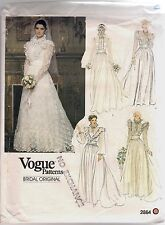 Vogue Sewing Pattern 2864 Vintage Bridal Dress and Slip, Size 10, Uncut