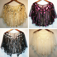 1pc Ladies 1920s Shawl Wraps Sequin Evening Cape Bridal Bolero Flapper Vintage