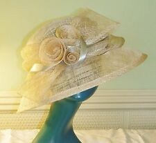 EDWARDIAN STYLE NATURAL STRAW HAT SELF BOW ROSSETTES RIBBON M & S RACES WEDDING