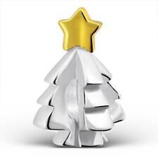 Plata Esterlina 925 De Árbol De Navidad Estrella de Oro encanto pulsera del grano de regalo en caja B217