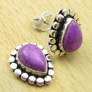 """925 Silver Plated Purple Copper Turquoise DROP SHAPE Earrings 0.4"""" Jewellery"""