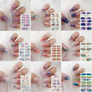 12 Tips Nail Stickers Wraps Full Cover Adhesive Waterproof Nail Art Decals Decor