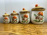 Vintage Ceramic Merry Mushroom Set of 4 Canisters Sears, Roebuck and Co. 1978