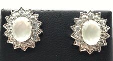 Sterling Silver Oval Mother Of Pearl Quartz CZ Halo Flower Stud Post Earrings