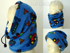 Kids BOYS truck digger tractor blue SNOOD neck warmer balaclava scarf hat school