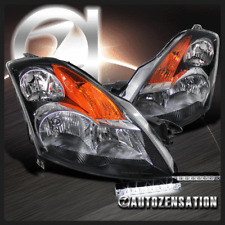 For 2007-2009 Nissan Altima 4 Door Black Clear Headlights+6-LED Bumper Fog Lamp