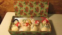 Antique Ucagco Japan Plaster Noel Snowmen Shaker Set- OB
