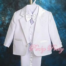 5pc Set Formal Suits Outfits Christening Wedding Page Boys White 6m-9m ST022A