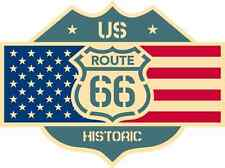 "Route 66 US Historic Road USA Flag Car Bumper Sticker Decal 5"" x 4"""
