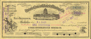 Union Mining Nevada stock certificate signed R L Rader
