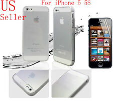 Stylish Tough Soft Silicone Gel Case for iPhone 5 5S Cover and Screen Protector