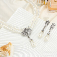 Diamond And Pearl Necklace And Earrings Set