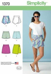 Simplicity 1370 Sz 4-20 Skort Skirt Shorts Short Mini Wrap Golf Tennis Pattern