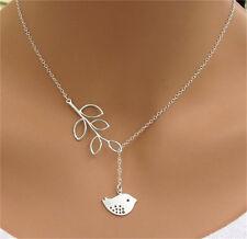 Pop Silver Branch Cross Chain Leaves Peace Bird Pendant Adjustable Necklace