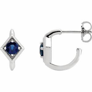 Blue Sapphire Geometric J-Hoop Earrings In Platinum