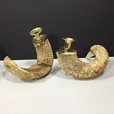 Vintage Pair Genuine Rams Horn Candlestick Candle Holders Brass Trim Regency
