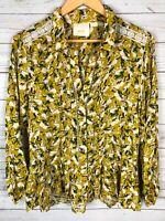 Anthropologie Maeve Button Front Rabbit Geometric Crochet L/S Top Blouse Size 12