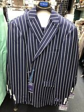 BRAND NEW STYLE! Blu Martini Pod Vested 9206 Blue Wide Pinstripe Men's Suit