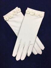 Ivory Satin Rose Trim Glove  Ideal Holy Communion, Bridesmaid/Flower Girl BN