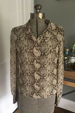 Valentino Blouse Top~100% Silk~Brown Animal Snakeskin Print~SZ S~Made In Italy