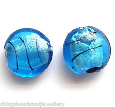 20 Blue Silver Foilded Glass 20mm Disc Beads
