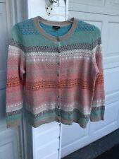 NWT Talbots Khaki Blues, Pinks Gray Nordic  Pattern Cardigan Sweater 1XP 14W 16W