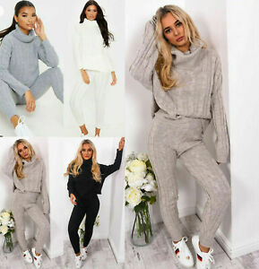 Ladies Chunky Cable Knitted Polo High Neck Top Leggings Lounge wear Suit Set