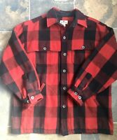 Woolrich Mens Alaskan Buffalo Plaid Wool Over Shirt Jacket Red Black XLarge