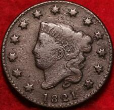 1821 Philadelphia Mint Copper Coronet Head Large Cent