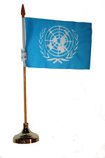 """UNITED NATIONS 4"""" X  6""""  inch stick flag with GOLD STAND on 10"""" plastic pole"""
