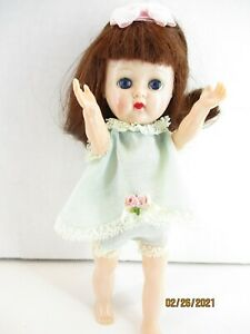 "1950's 8"" Hard Plastic Walker Doll Sleep Eyes Molded Lashes Unmarked auburn hair"