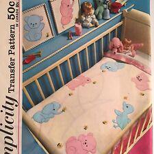 Simplicity 4749 Applique Transfer Baby Bunny Kitten Elephant Pattern Vtg 1960s