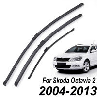LHD Front Rear Windshield Wiper Blades Set For Skoda Octavia 1Z MK2 2005-2013