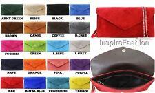 Women DESIGNER Handbag REAL ITALIAN SUEDE LEATHER Envelope Clutch Gold Chain Bag