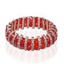 wunderschönes Luxus-Armband Handarbeit rote Glasperlen Strass-Teile Kette  NEU