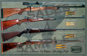 Mauser '98 Dangerous Game Express Rifles Poster 11x17