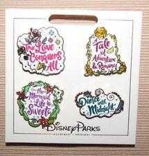 Disney Princess Quotes Booster 4 Pin Set Beast Beauty Cinderella Mermaid