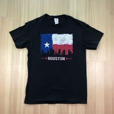 HOUSTON Texas Text Flag Black Delta T-Shirt Adult Sz M
