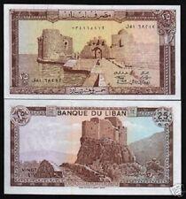 LEBANON 25 LIVRES P64 1983 *BUNDLE* LION CASTLE RUIN ROCK UNC CURRENCY 100 BILL