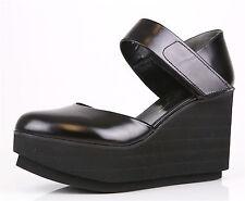 Robert Clergerie Black Chicago Platform Closed Toe Wedge Sandals 1009 Size 10 B