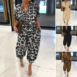 UK Women/'s Tapered Short Sleeve Jumpsuit Ladies Evening Party Playsuit Size 8-26