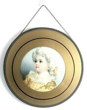 Antique Glass Flue Cover with Chain Art Nouveau Round Lithograph Victorian Girl