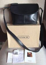 Vintage COACH LEGACY BLK LEATHER FLAP CROSSBODY Purse SHOULDER BAG Original BOX